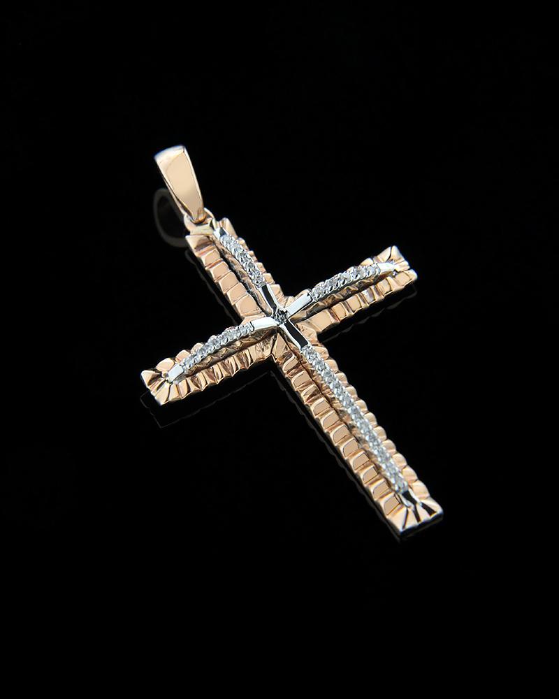 Σταυρός από λευκό & ροζ χρυσό K18 με λευκά διαμάντια   παιδι βαπτιστικοί σταυροί βαπτιστικοί σταυροί για κορίτσι