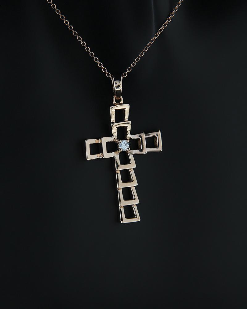 Σταυρός από ροζ χρυσό K18 με λευκό διαμάντι   παιδι βαπτιστικοί σταυροί βαπτιστικοί σταυροί για κορίτσι