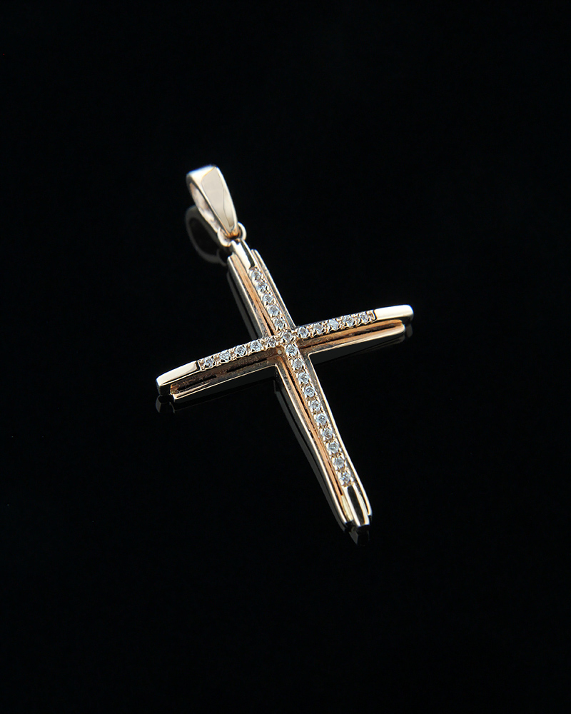 Σταυρός από ροζ χρυσό K18 με λευκά διαμάντια   παιδι βαπτιστικοί σταυροί βαπτιστικοί σταυροί για κορίτσι