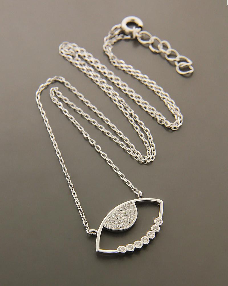 Κολιέ ασημένιο 925 ματάκι με ζιργκόν   γυναικα κοσμήματα με ματάκι