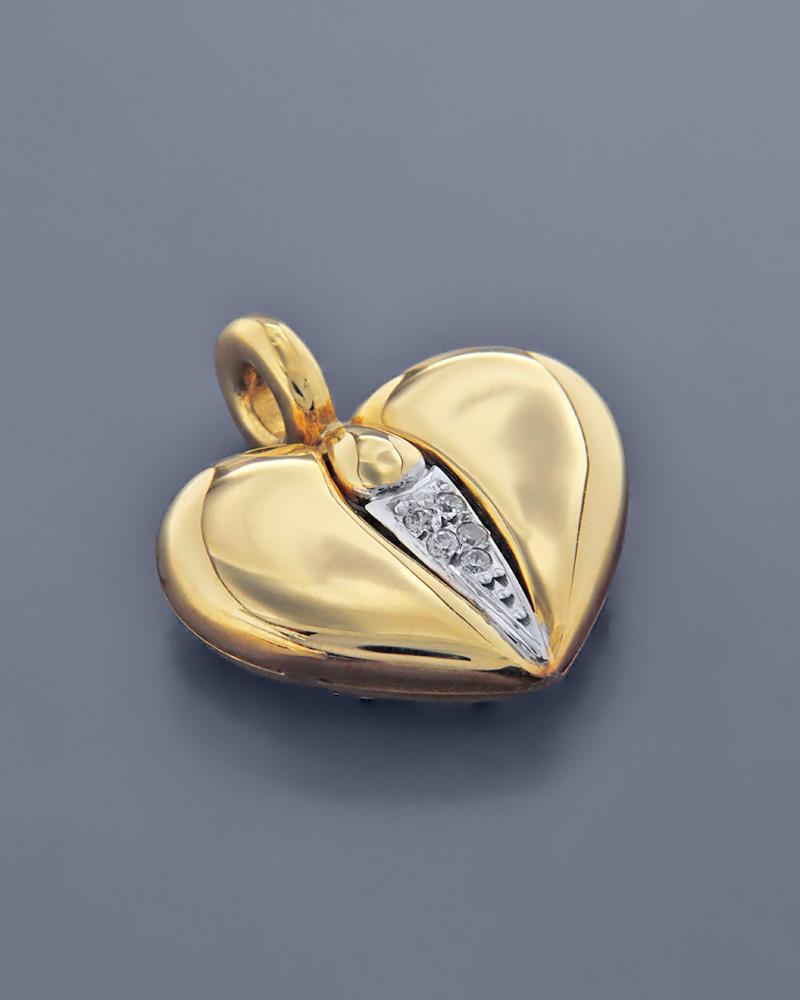 Μενταγιόν καρδιά χρυσό Κ18   κοσμηματα κρεμαστά κολιέ κρεμαστά κολιέ καρδιές