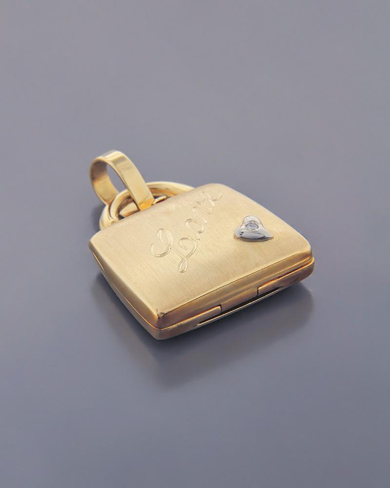 """Μενταγιόν ανοιγόμενο τσαντάκι """"LOVE"""" χρυσό Κ18   κοσμηματα κρεμαστά κολιέ κρεμαστά κολιέ καρδιές"""