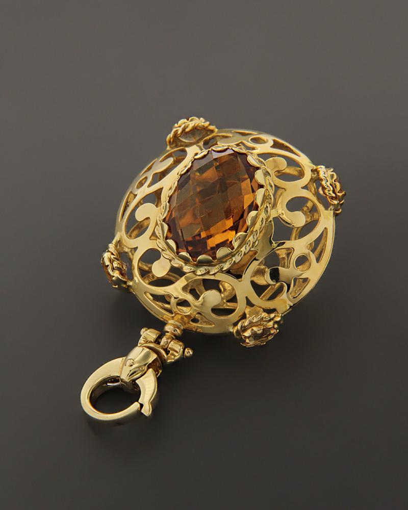 Μενταγιόν χρυσό Κ18 με Citrine   γυναικα κρεμαστά κολιέ κρεμαστά κολιέ χρυσά