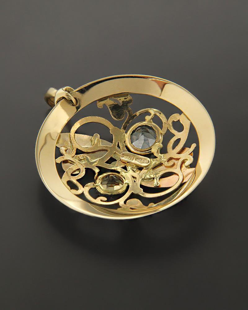 Μενταγιόν χρυσό Κ14 με Τοπάζι & Citrine   γυναικα κρεμαστά κολιέ κρεμαστά κολιέ χρυσά