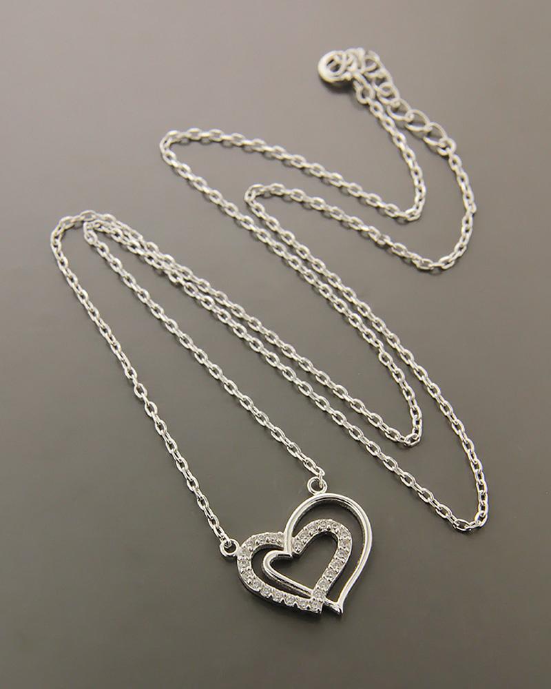 Κολιέ καρδιά ασημένιο 925 με ζιργκόν ZN881   γυναικα κοσμήματα με καρδιές