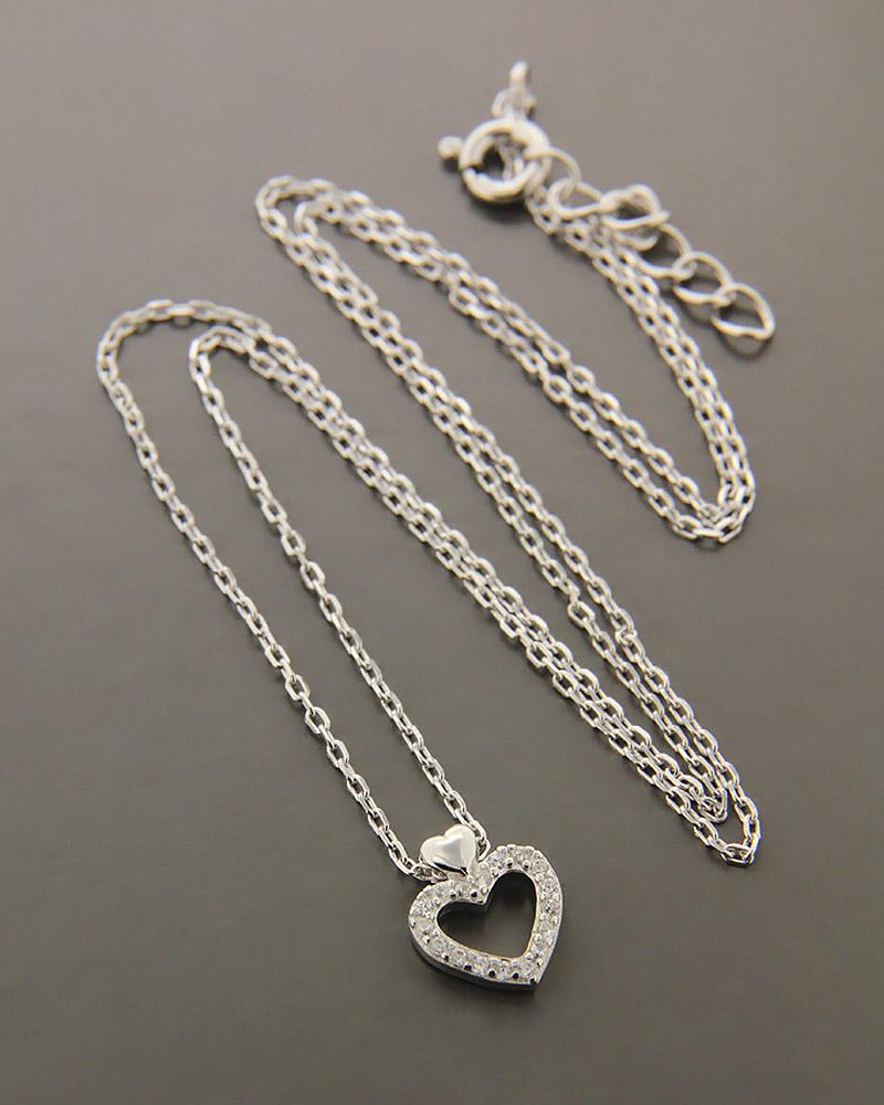 Κολιέ καρδιά ασημένιο 925 με ζιργκόν ZN987   γυναικα κοσμήματα με καρδιές