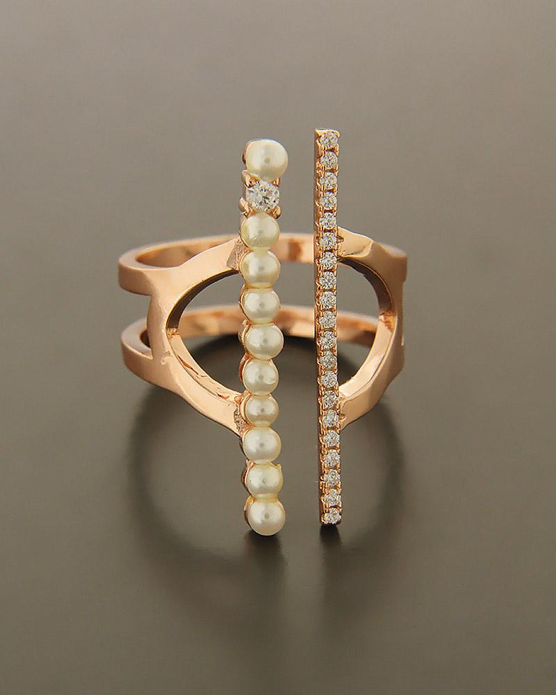 Δαχτυλίδι ασημένιο 925 με Ζιργκόν και Μαργαριτάρια   γυναικα δαχτυλίδια δαχτυλίδια με μαργαριτάρια