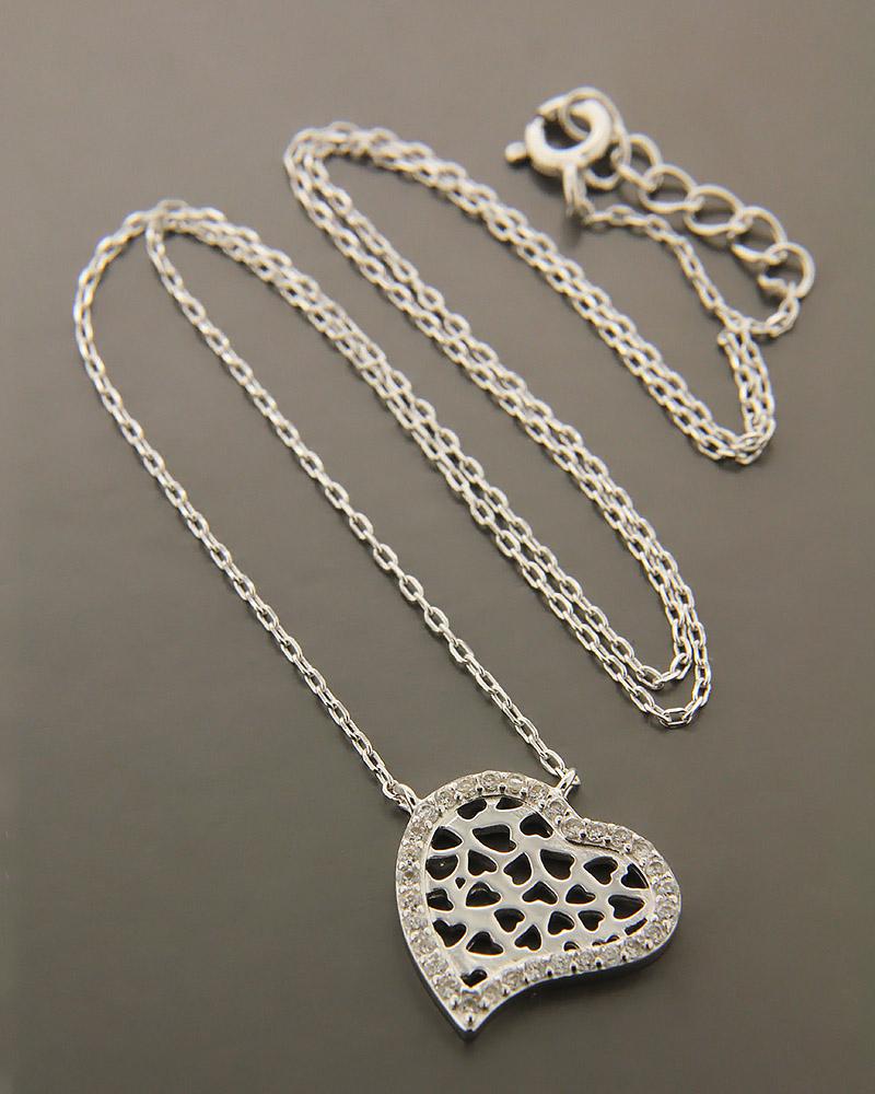 Κολιέ καρδιά ασημένιο 925 με ζιργκόν ZN843   γυναικα κοσμήματα με καρδιές