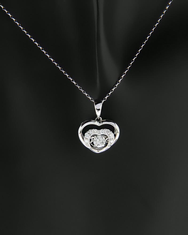 Μενταγιόν καρδιά λευκόχρυσο Κ18 με Διαμάντια   γυναικα κρεμαστά κολιέ κρεμαστά κολιέ λευκόχρυσα