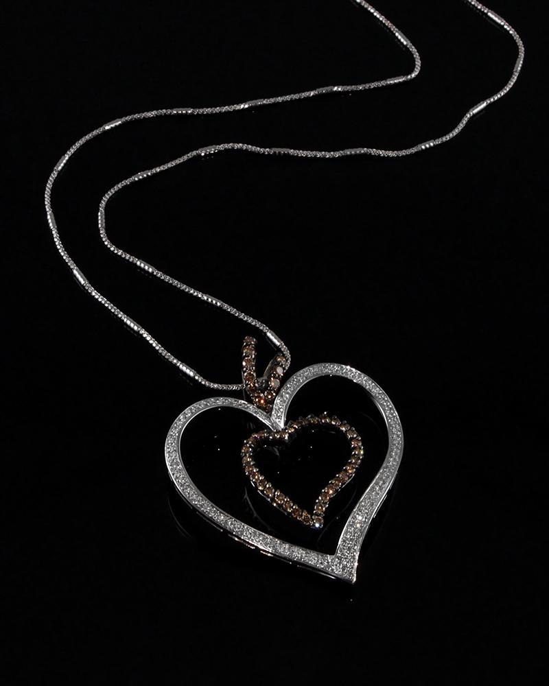 Μενταγιόν καρδιά λευκόχρυσο Κ18 με Διαμάντια   κοσμηματα κρεμαστά κολιέ κρεμαστά κολιέ λευκόχρυσα