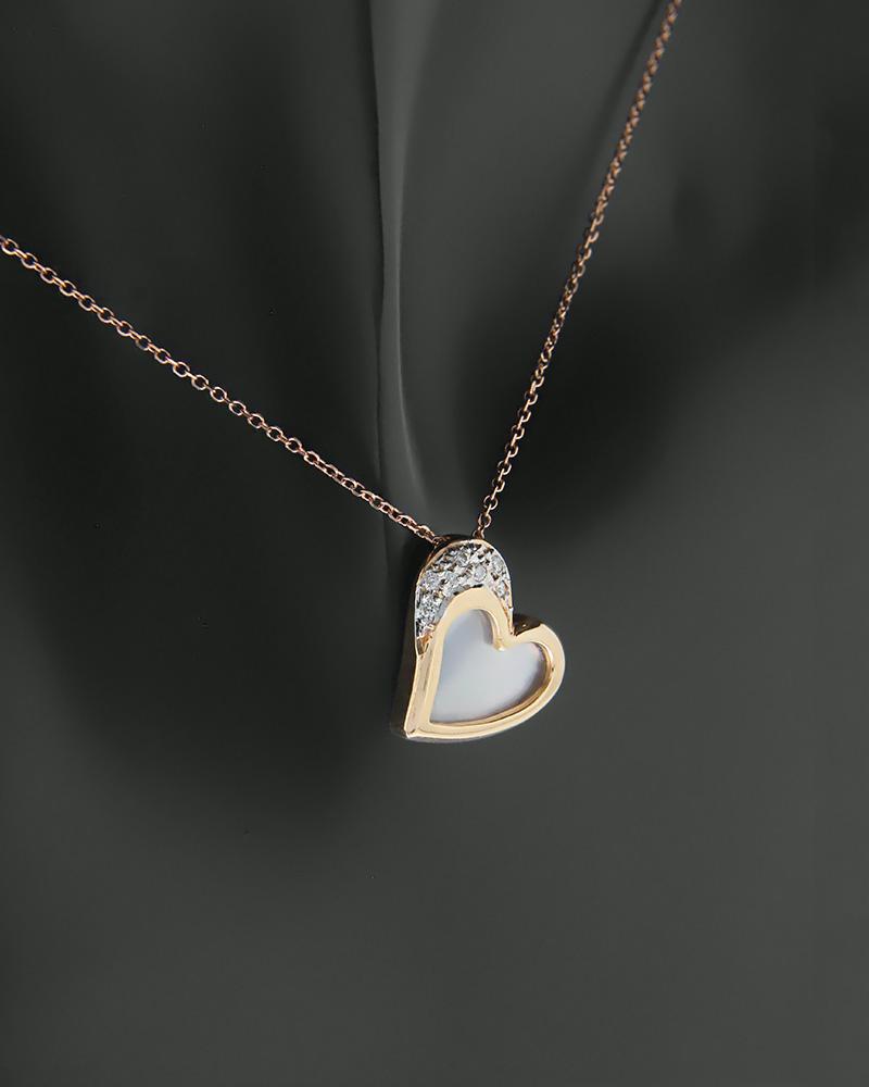 Μενταγιόν καρδιά ροζ χρυσό Κ18 με Διαμάντια και Φίλντισι   κοσμηματα κρεμαστά κολιέ κρεμαστά κολιέ ροζ χρυσό