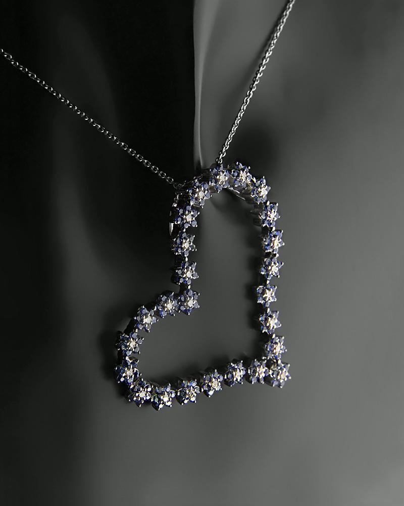 Μενταγιόν καρδιά λευκόχρυσο Κ18 με Διαμάντια και Ζαφείρια   κοσμηματα κρεμαστά κολιέ κρεμαστά κολιέ λευκόχρυσα