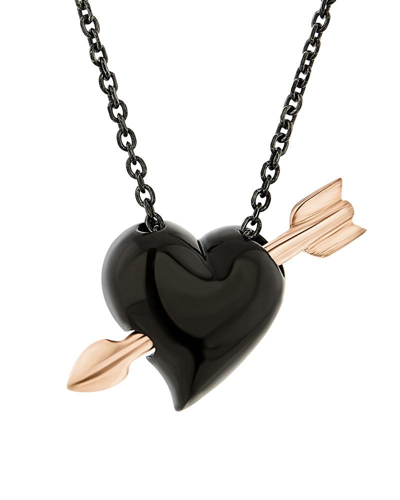 HONOR Κολιέ από ασήμι Hearts and Arrows Black SP186BP   γυναικα κρεμαστά κολιέ κρεμαστά κολιέ καρδιές
