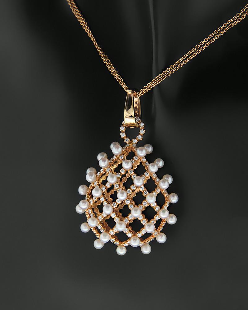 Κολιέ ροζ χρυσό Κ18 με Διαμάντια και Μαργαριτάρια   γυναικα κρεμαστά κολιέ κρεμαστά κολιέ ροζ χρυσό