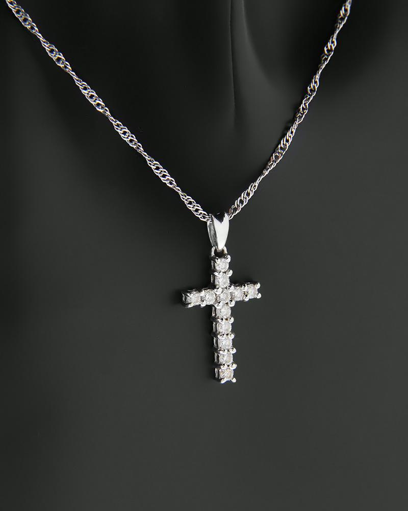 Κολιέ σταυρός λευκόχρυσο Κ18 με Διαμάντια   κοσμηματα σταυροί με αλυσίδα