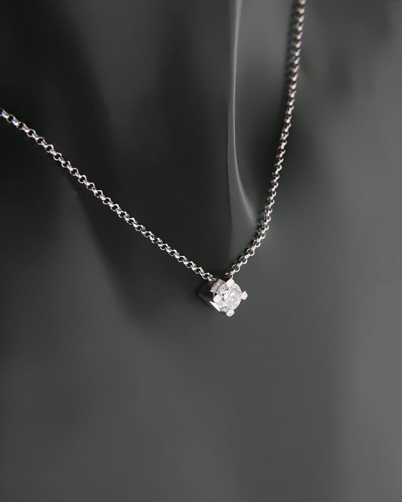 Κολιέ λευκόχρυσο Κ18 με Διαμάντι   γυναικα κρεμαστά κολιέ κρεμαστά κολιέ λευκόχρυσα