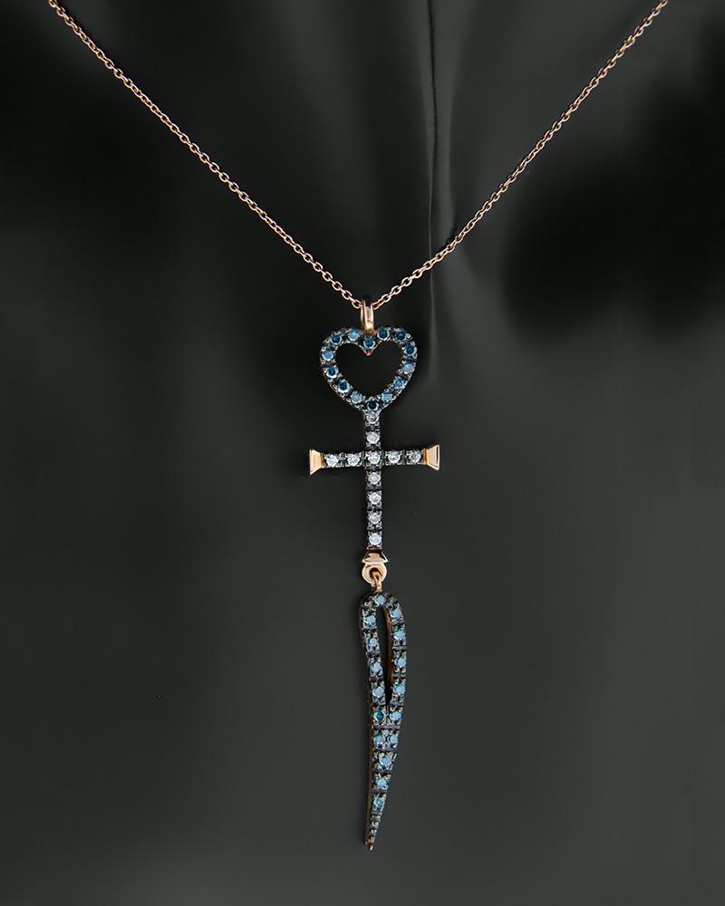 Κολιέ σταυρός και καρδιά ροζ χρυσό Κ18 με Διαμάντια   κοσμηματα κρεμαστά κολιέ κρεμαστά κολιέ ροζ χρυσό