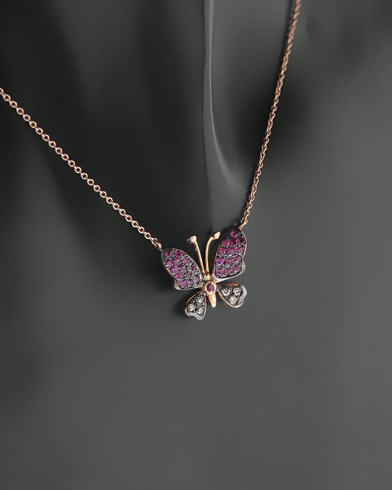 Κολιέ πεταλούδα ροζ χρυσό Κ18 με Διαμάντια και Ρουμπίνια   γυναικα κρεμαστά κολιέ κρεμαστά κολιέ ροζ χρυσό
