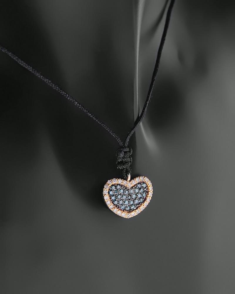 Κολιέ καρδιά ροζ χρυσό Κ18 με Διαμάντια   γυναικα κρεμαστά κολιέ κρεμαστά κολιέ ροζ χρυσό