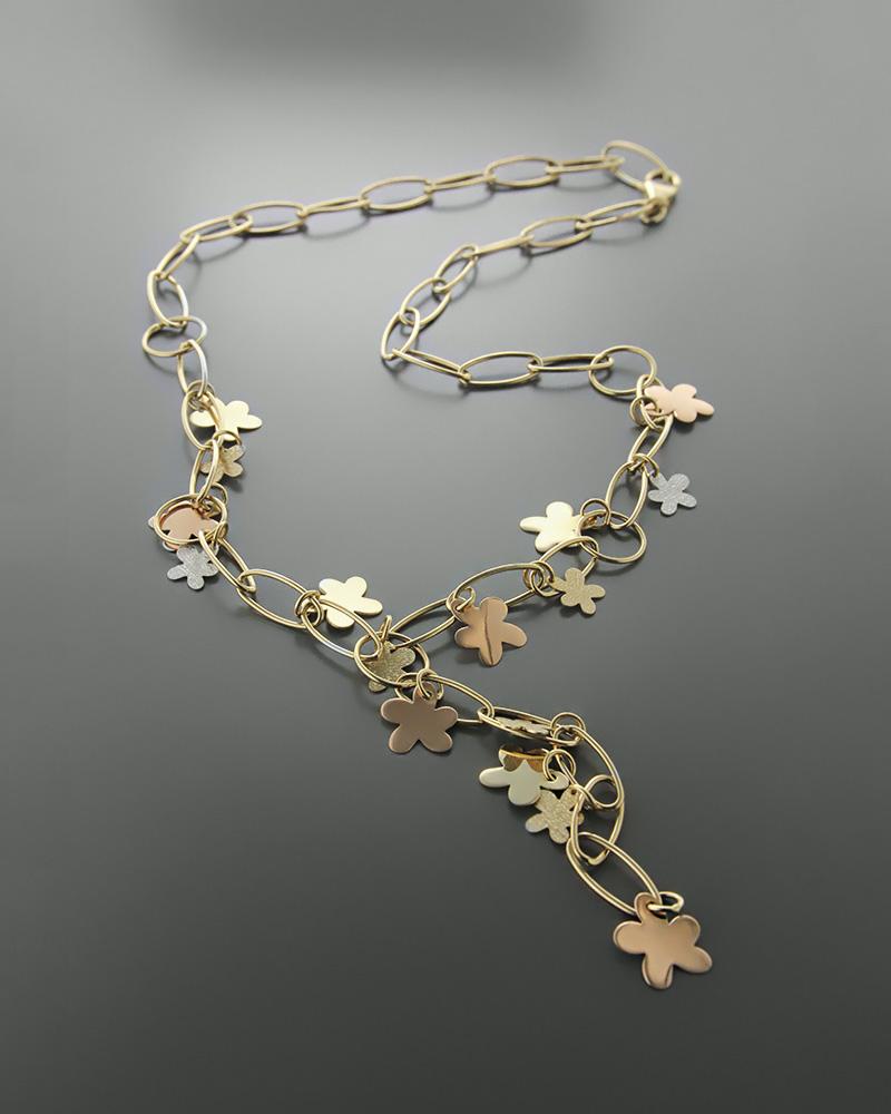 Κολιέ χρυσό ροζ χρυσό και λευκόχρυσο Κ14   κοσμηματα κρεμαστά κολιέ κρεμαστά κολιέ λευκόχρυσα