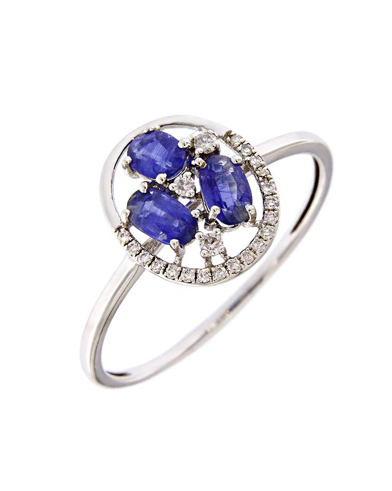 Δαχτυλίδι λευκόχρυσο Κ18 με Διαμάντια και Ζαφείρια