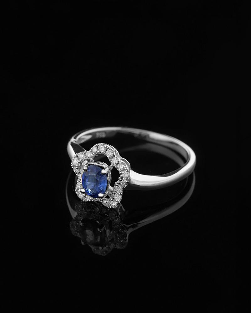 Δαχτυλίδι μονόπετρο λευκόχρυσο Κ18 με Διαμάντια και Ζαφείρι   γυναικα δαχτυλίδια μονόπετρα με διαμάντια