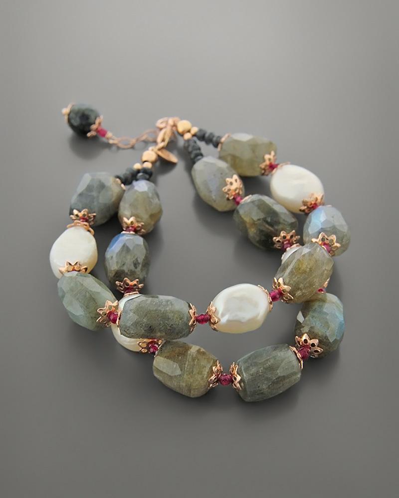 Βραχιόλι ασημένιο με μαργαριτάρια και ορυκτές πέτρες   γυναικα βραχιόλια βραχιόλια ημιπολύτιμοι λίθοι