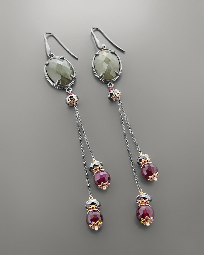 Σκουλαρίκια ασημένια με Γρανάδα, Αιματίτη,Ορυκτή πέτρα   γυναικα σκουλαρίκια σκουλαρίκια ημιπολύτιμοι λίθοι