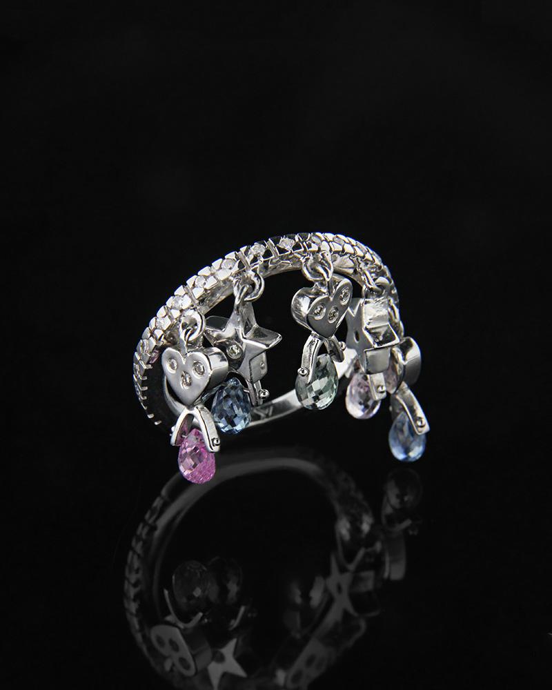 Δαχτυλίδι καρδιές λευκόχρυσο Κ18 με Διαμάντια και Ημιπολύτιμους   γυναικα δαχτυλίδια δαχτυλίδια λευκόχρυσα