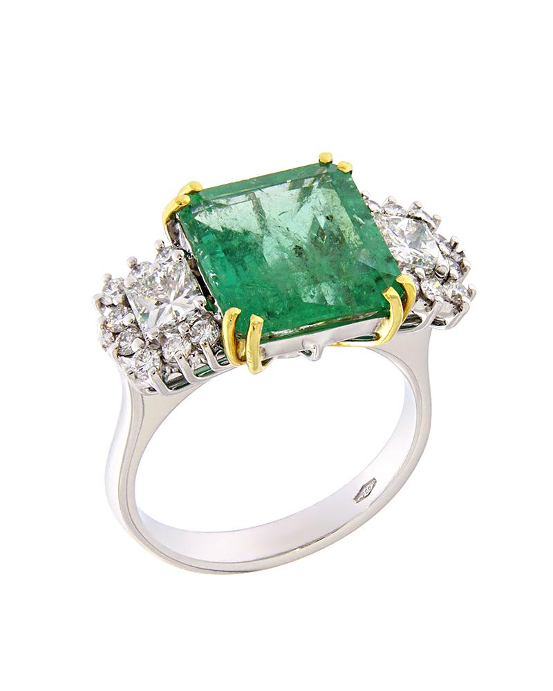 Δαχτυλίδι λευκόχρυσο και χρυσό Κ18 με Διαμάντια και Σμαράγδι   γυναικα δαχτυλίδια δαχτυλίδια λευκόχρυσα