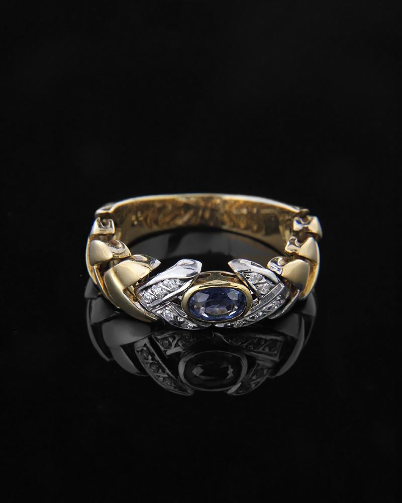 Δαχτυλίδι χρυσό και λευκόχρυσο Κ18 με Διαμάντια, Ζαφείρι   κοσμηματα δαχτυλίδια δαχτυλίδια με διαμάντια
