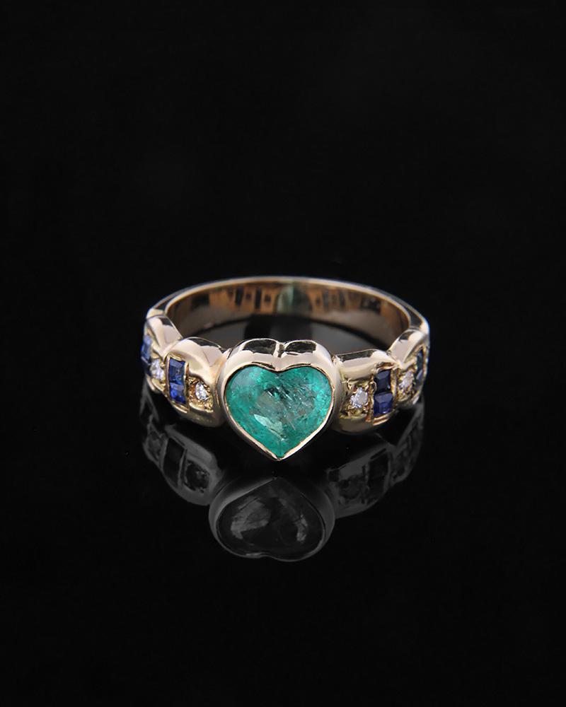 Δαχτυλίδι καρδιά χρυσό Κ18 με Διαμάντια, Ζαφείρια και Σμαράγδι   γυναικα δαχτυλίδια δαχτυλίδια χρυσά