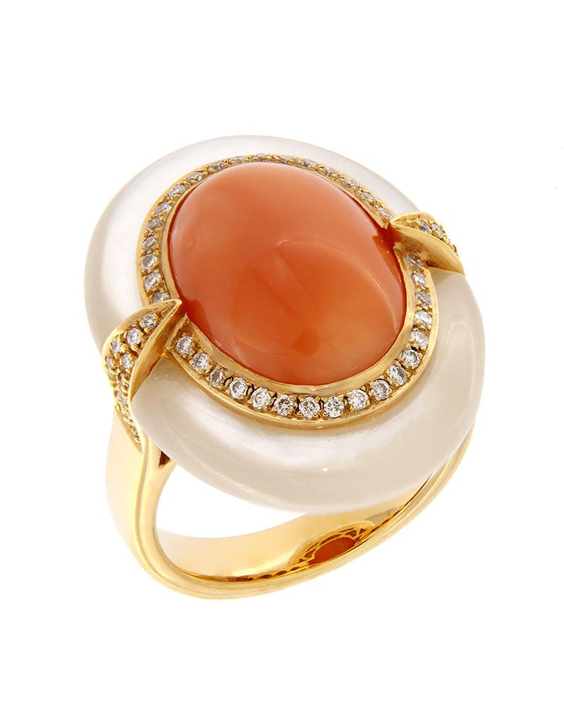 Δαχτυλίδι ροζ χρυσό Κ18 με Διαμάντια, Φίλντισι και Οπάλιο   κοσμηματα δαχτυλίδια δαχτυλίδια ημιπολύτιμοι λίθοι