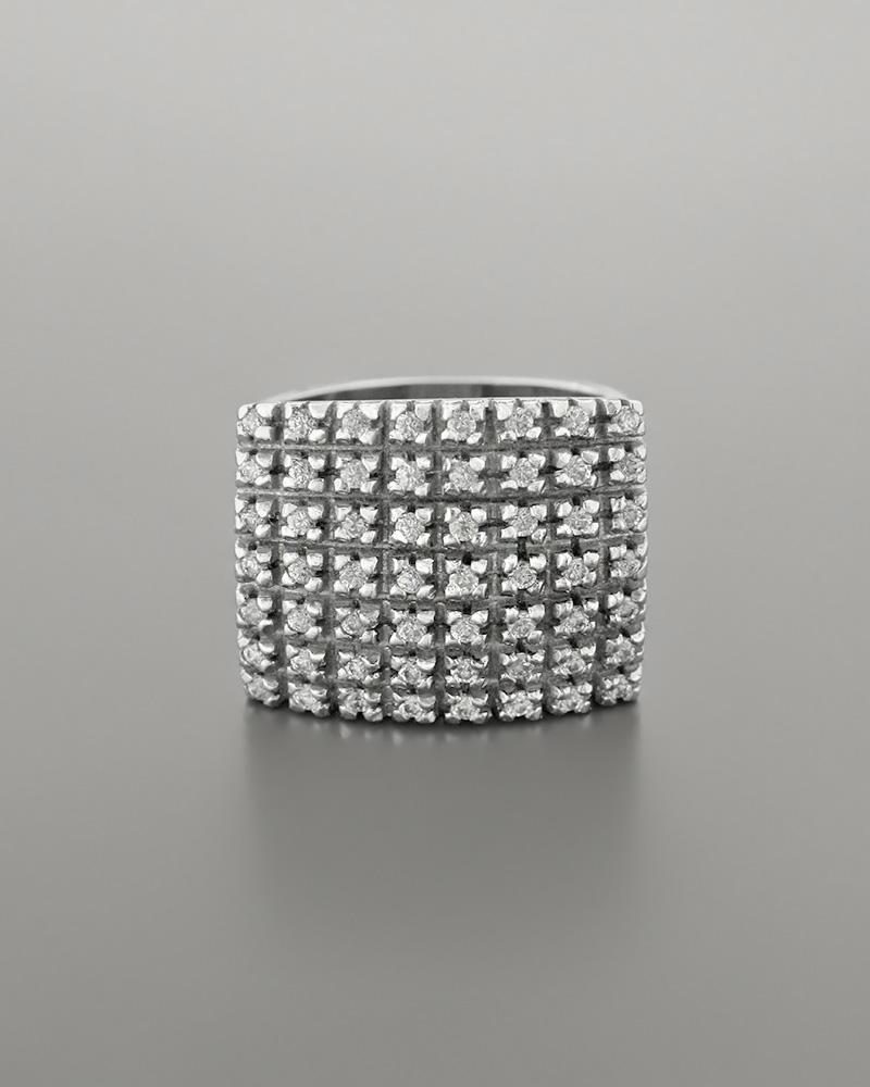 Δαχτυλίδι από Λευκόχρυσο Κ14 με Ζιργκόν