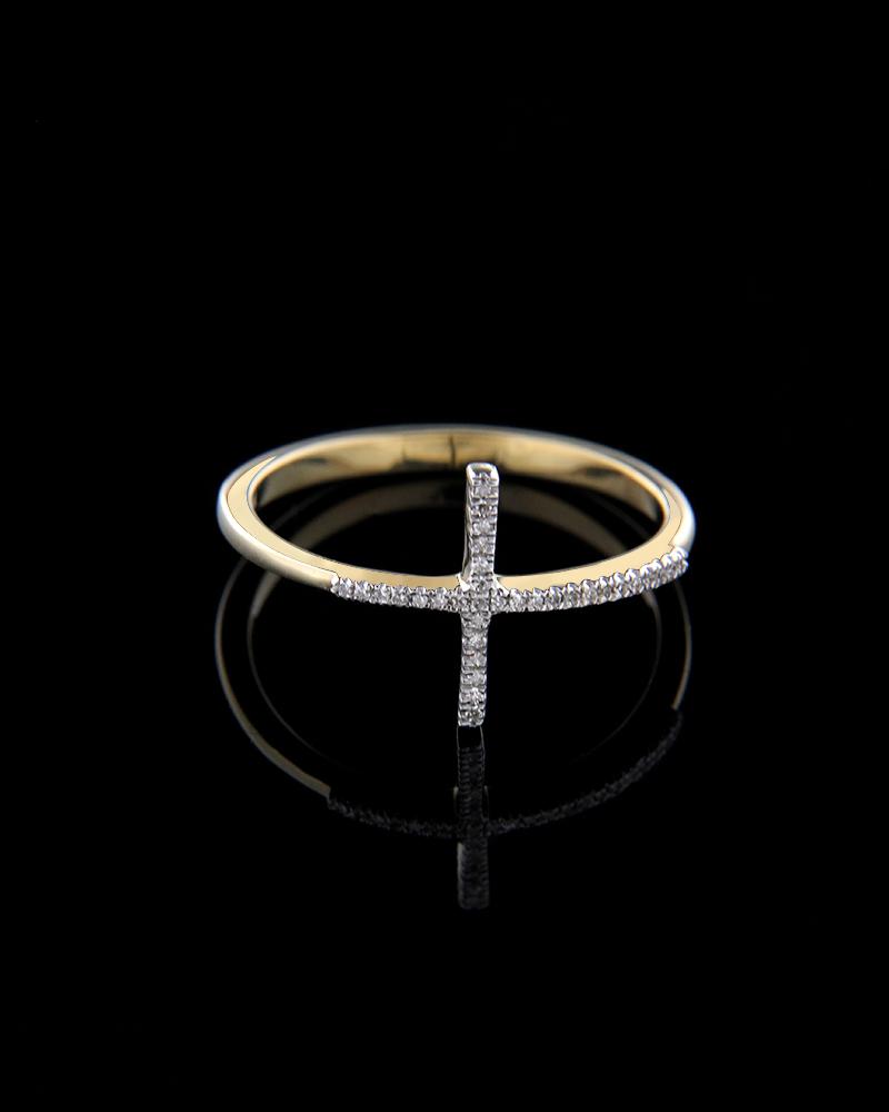 Δαχτυλίδι σταυρός χρυσό Κ14 με Διαμάντια   γυναικα δαχτυλίδια δαχτυλίδια διαμάντια