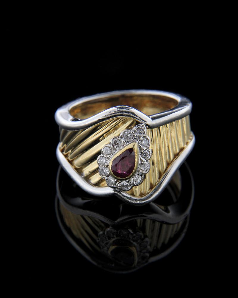Δαχτυλίδι χρυσό και λευκόχρυσο Κ18 με Διαμάντια και Ρουμπίνι   γυναικα δαχτυλίδια δαχτυλίδια διαμάντια