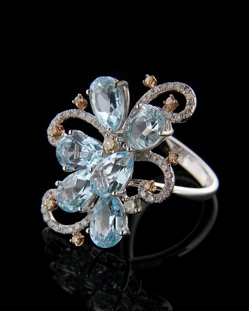 Δαχτυλίδι λευκόχρυσο Κ18 με Διαμάντια και Τοπάζι   γυναικα δαχτυλίδια δαχτυλίδια διαμάντια
