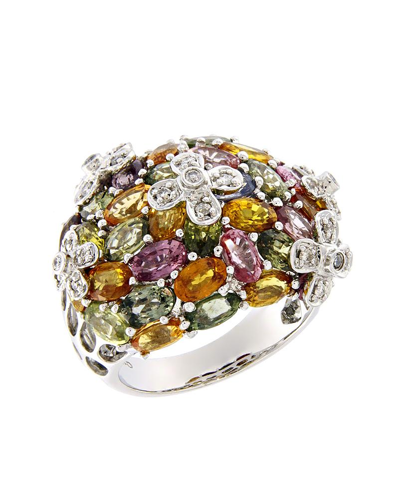 Δαχτυλίδι λουλούδια λευκόχρυσο Κ18 με Διαμάντια, Citrine, Τοπάζι   γυναικα δαχτυλίδια δαχτυλίδια διαμάντια