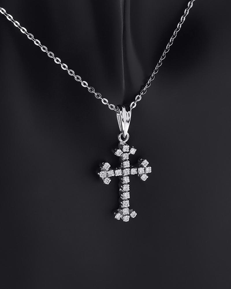 Μενταγιόν σταυρός λευκόχρυσο Κ18 με Διαμάντια   παιδι βαπτιστικοί σταυροί βαπτιστικοί σταυροί για κορίτσι