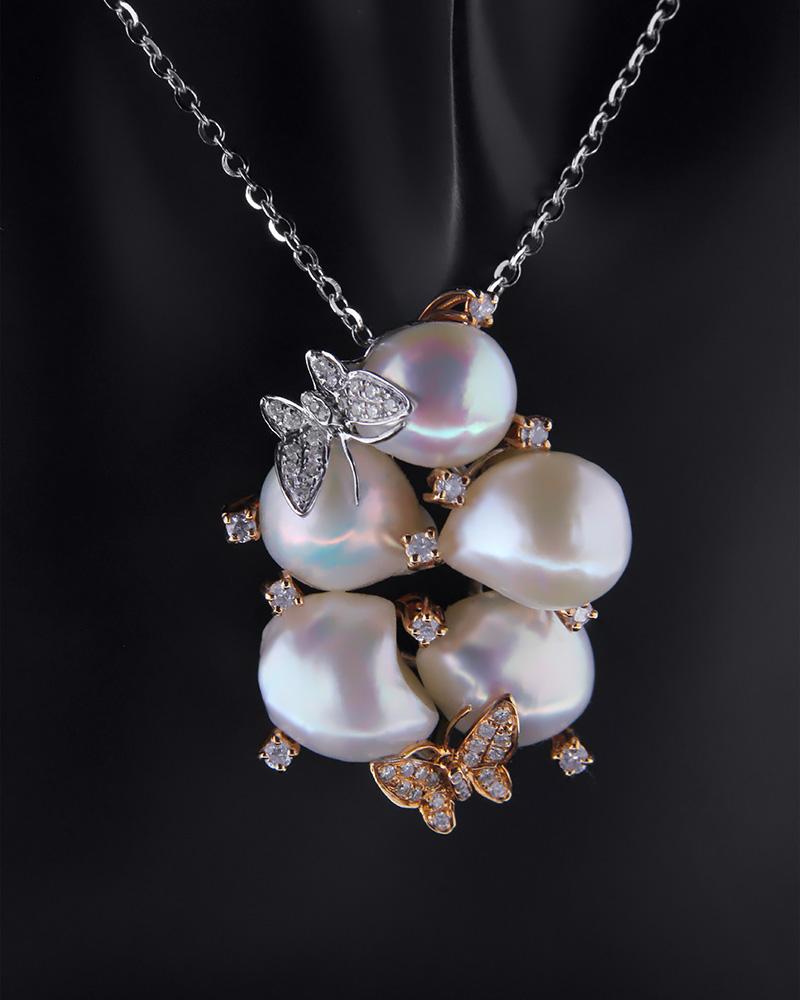 Μενταγιόν λευκόχρυσο & ροζ χρυσό Κ18 με Διαμάντια & Μαργαριτάρια   γυναικα κρεμαστά κολιέ κρεμαστά κολιέ λευκόχρυσα