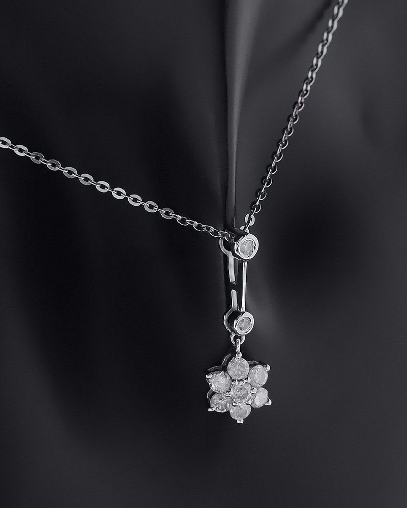 Μενταγιόν λουλούδι λευκόχρυσο Κ18 με Διαμάντια   γυναικα κρεμαστά κολιέ κρεμαστά κολιέ λευκόχρυσα
