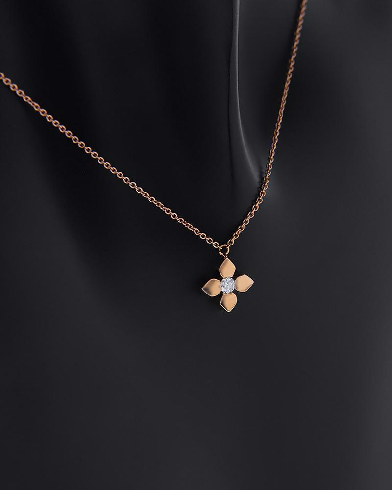 Κρεμαστό κολιέ σταυρός ροζ χρυσό Κ18 με Διαμάντι   κοσμηματα κρεμαστά κολιέ κρεμαστά κολιέ ροζ χρυσό