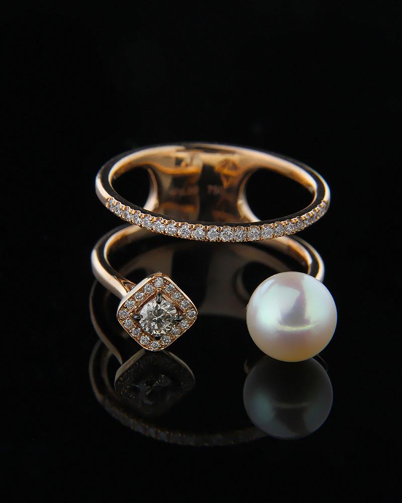 Δαχτυλίδι ροζ χρυσό Κ18 με Διαμάντια και Μαργαριτάρι   κοσμηματα δαχτυλίδια δαχτυλίδια μαργαριτάρια