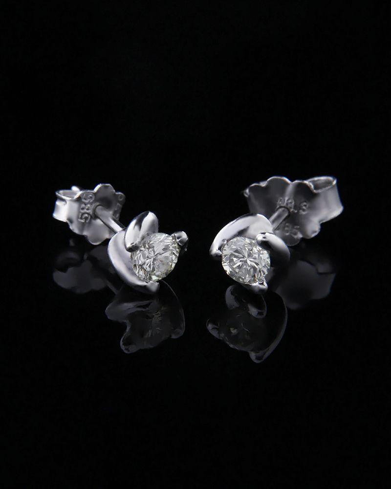 Σκουλαρίκια λευκόχρυσα Κ14 με Διαμάντια   γυναικα σκουλαρίκια σκουλαρίκια λευκόχρυσα