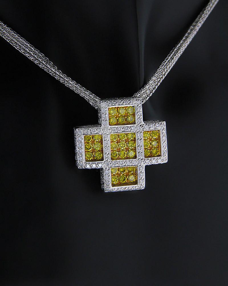 Κολιέ σταυρός χρυσό και λευκόχρυσο Κ18 με Διαμάντια   παιδι σταυροί με αλυσίδα