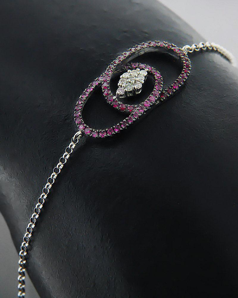 Βραχιόλι λευκόχρυσο Κ18 με Διαμάντια και Ρουμπίνια   γυναικα βραχιόλια βραχιόλια διαμάντια