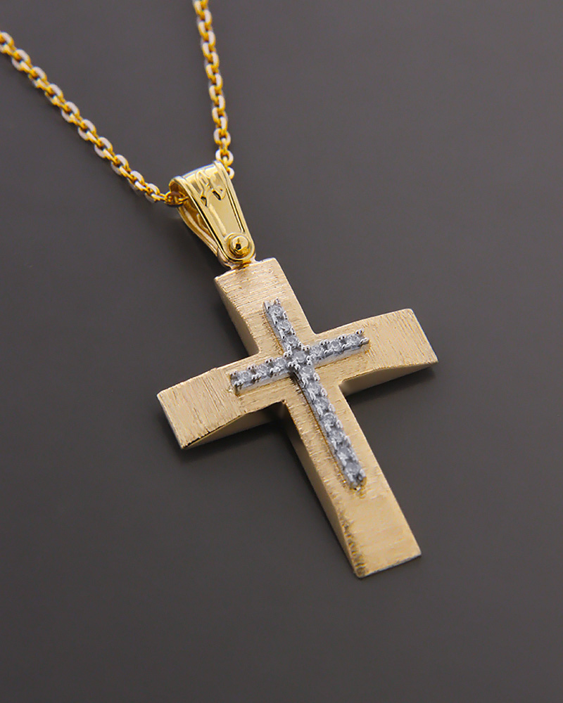 Σταυρός χρυσός και λευκόχρυσος Κ14 με ζιργκόν   παιδι βαπτιστικοί σταυροί βαπτιστικοί σταυροί για κορίτσι
