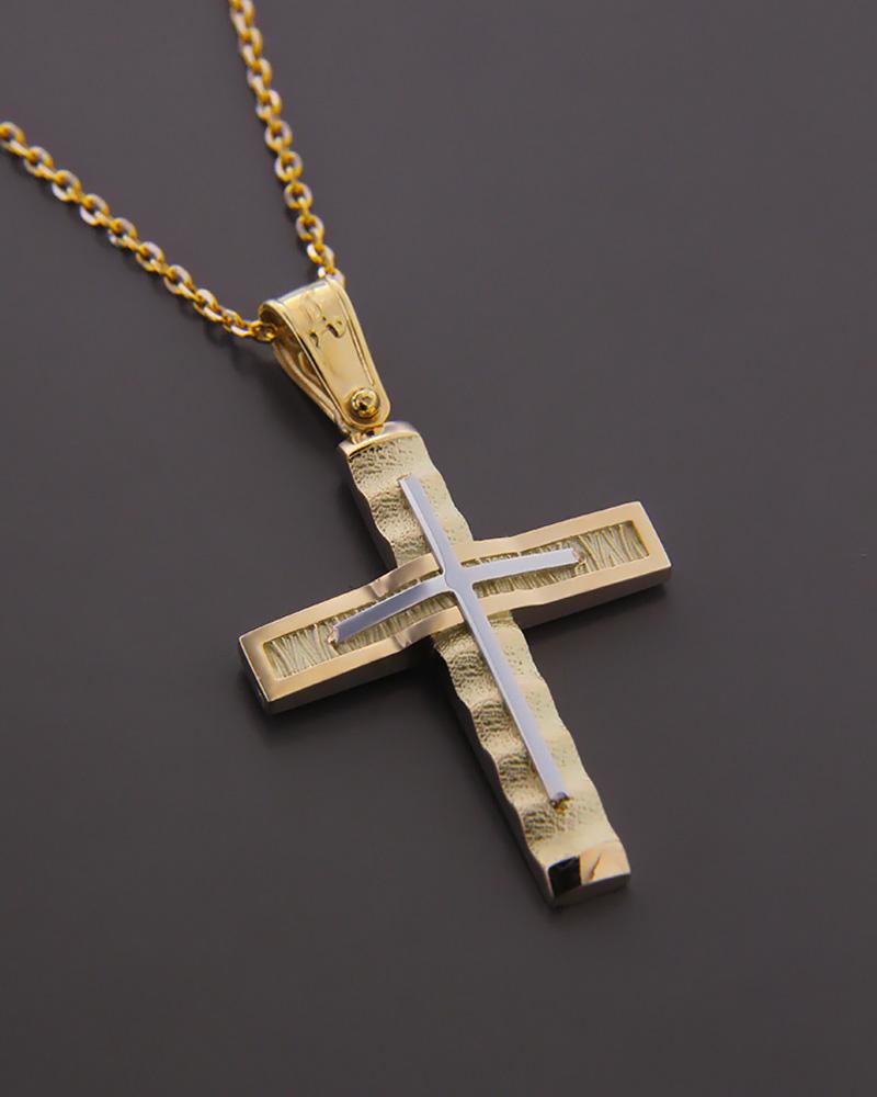 Σταυρός από χρυσό & λευκόχρυσο Κ14.   παιδι βαπτιστικοί σταυροί βαπτιστικοί σταυροί για αγόρι