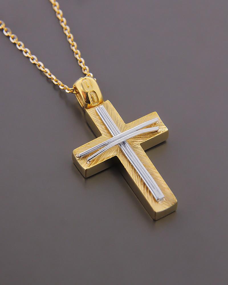 Σταυρός χρυσός και λευκόχρυσος Κ14   κοσμηματα σταυροί βαπτιστικοί σταυροί για κορίτσι