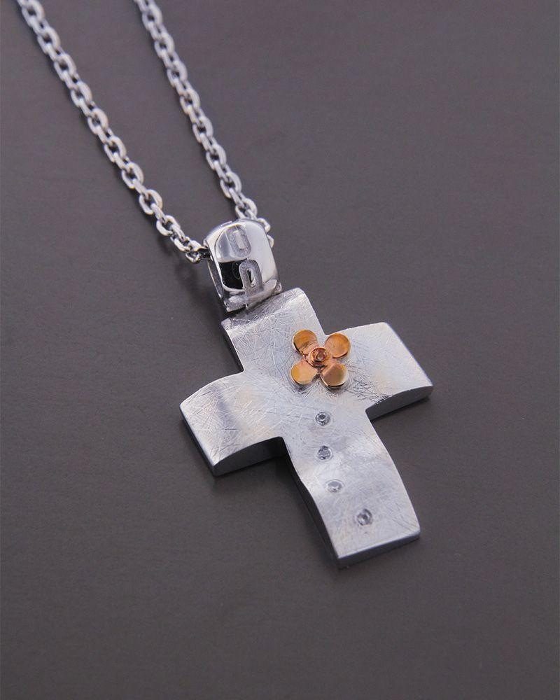 Σταυρός λευκόχρυσος και ροζ χρυσός Κ14   κοσμηματα σταυροί βαπτιστικοί σταυροί για κορίτσι